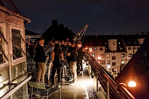 Our roof top terrace by night